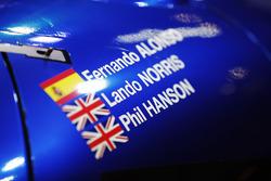 I nomi di Fernando Alonso, Lando Norris e Phil Hanson su una sportscar della United Autosports