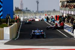 Sébastien Buemi, Renault e.Dams, Felix Rosenqvist, Mahindra Racing, leave the pits
