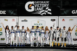 Podium GTLM: Winners #67 Ford Performance Chip Ganassi Racing Ford GT: Ryan Briscoe, Richard Westbrook, Scott Dixon, second place #66 Ford Performance Chip Ganassi Racing Ford GT: Joey Hand, Dirk Müller, Sebastien Bourdais, third place #3 Corvette Racing Chevrolet Corvette C7.R: Antonio Garcia, Jan Magnussen, Mike Rockenfeller