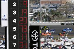 Daniel Suarez, Joe Gibbs Racing Toyota, Alex Bowman, Hendrick Motorsports Chevrolet Camaro and Jimmie Johnson, Hendrick Motorsports Chevrolet Camaro