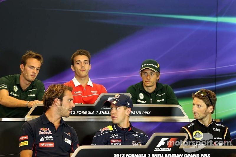Jean-Eric Vergne, Scuderia Toro Rosso , Sebastian Vettel, Red Bull Racing and Romain Grosjean, Lotus