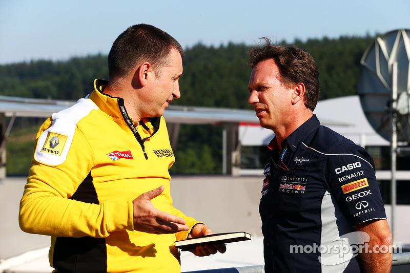 (L naar R): Rob White, Renault Sport Deputy Managing Director, met Christian Horner, Teambaas Red Bull Racing