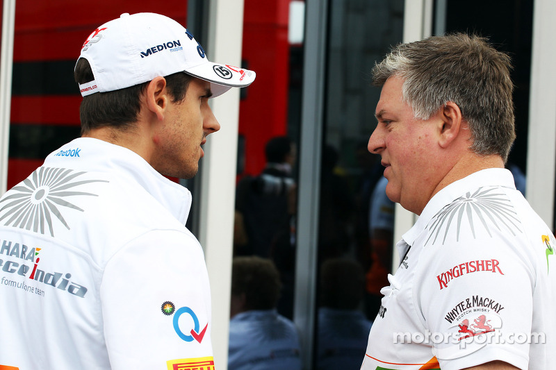 Adrian Sutil, Sahara Force India met Otmar Szafnauer, Sahara Force India F1 Chief Operating Officer