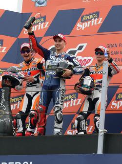 Race winner Jorge Lorenzo, Yamaha Factory Racing, second place Marc Marquez, Repsol Honda Team, third place Dani Pedrosa, Repsol Honda Team