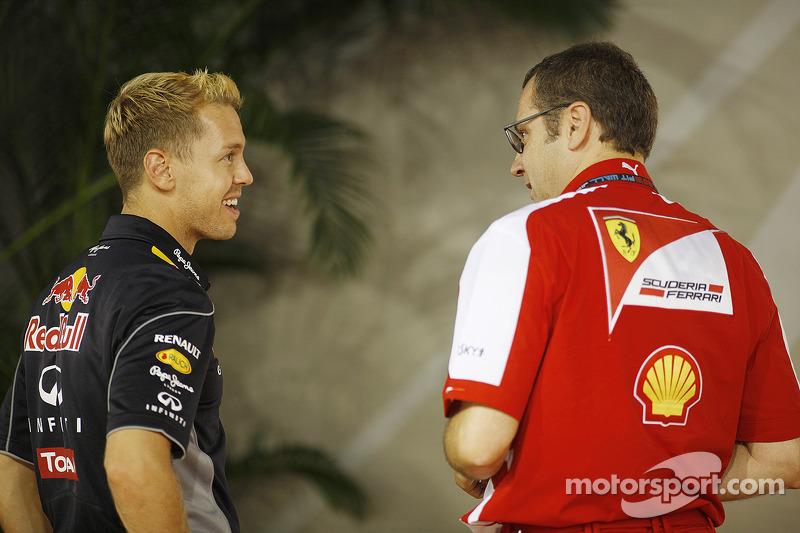 Sebastian Vettel, Red Bull Racing with Stefano Domenicali, Ferrari General Director