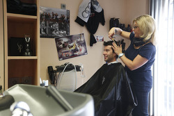 Mike Rockenfeller gets a haircut in his hometown