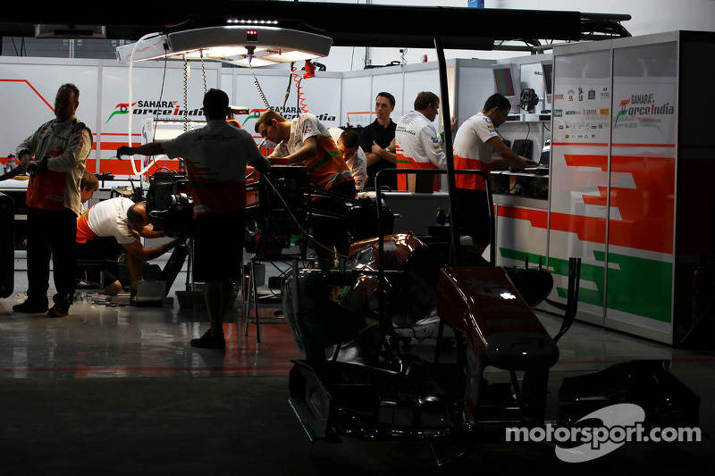 Sahara Force India F1 Team garage at night