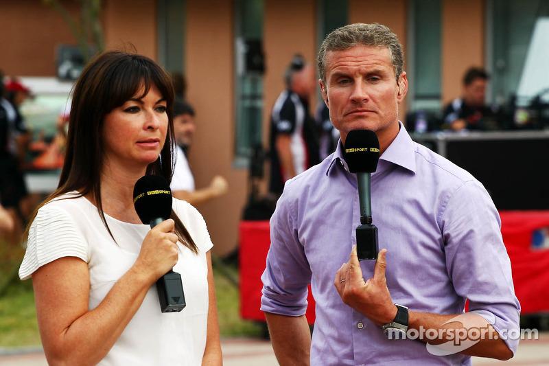 (L naar R): Suzi Perry, BBC F1-presentatrice met David Coulthard, Red Bull Racing en Scuderia Toro Advisor / BBC-commentator