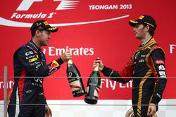 Sebastian Vettel, Red Bull Racing and Romain Grosjean, Lotus F1 Team