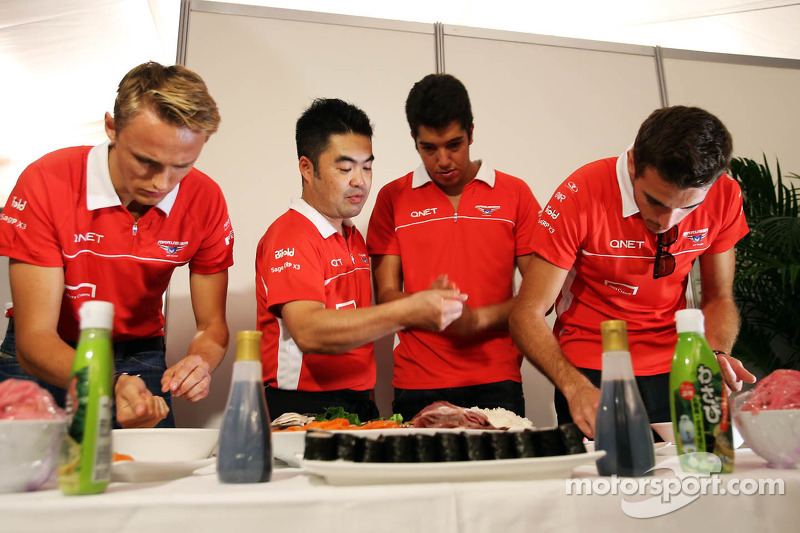 (L to R): Max Chilton, Marussia F1 Team; Rodolfo Gonzalez, Marussia F1 Team Reserve Driver and Jules Bianchi, Marussia F1 Team at a team sushi event