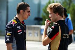 (L to R): Sebastien Buemi, Red Bull Racing and Scuderia Toro Rosso Reserve Driver with Davide Valsecchi, Lotus F1 Third Driver