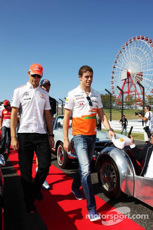 (Da esquerda para direita): Jenson Button, McLaren and Paul di Resta, Sahara Force India F1 , no des
