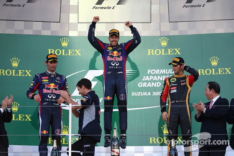 1st place Sebastian Vettel, Red Bull Racing, 2nd place Mark Webber, Red Bull Racing RB9 and 3rd place Romain Grosjean, Lotus F1 Team