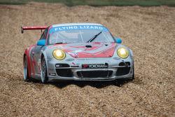 #44 Flying Lizard Motorsports Porsche 911 GT3 Cup: Seth Neiman, Dion von Moltke, Brett Sandberg in the gravel