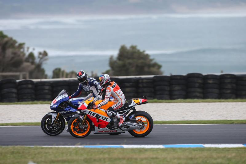 Dani Pedrosa, Repsol Honda Team en Jorge Lorenzo, Yamaha Factory Racing