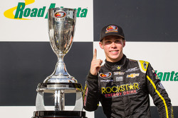 Race winner and NASCAR K&N East Series 2013 champion Dylan Kwasniewski celebrates