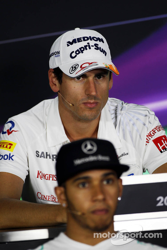 Adrian Sutil, Sahara Force India F1 and Lewis Hamilton, Mercedes AMG F1 in the FIA Press Conference