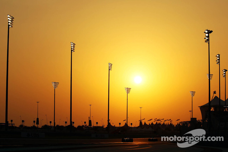 Action as the sun sets over the circuit