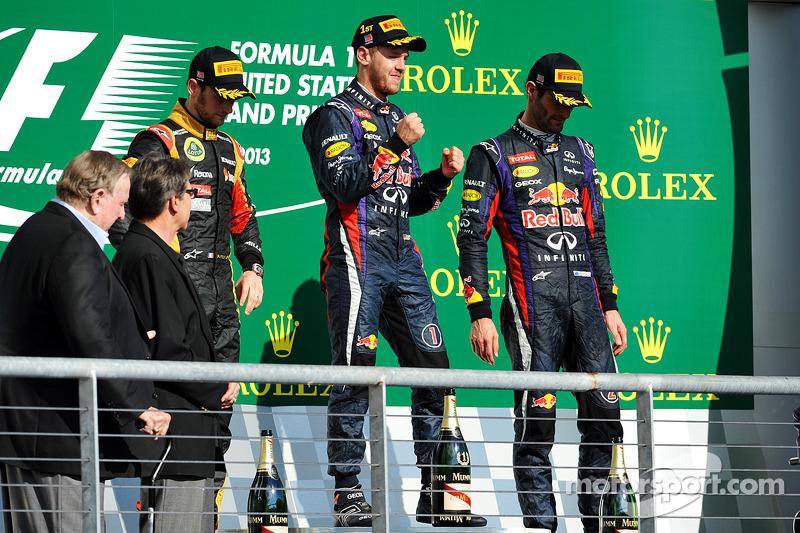 2013. Подіум: 1. Себастьян Феттель, Red Bull-Renault. 2. Ромен Грожан, Lotus-Renault. 3. Марк Веббер, Red Bull-Renault