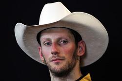 Romain Grosjean, Lotus F1 Team in the FIA Press Conference with a stetson hat