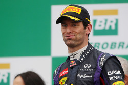 Mark Webber, Red Bull Racing celebrates his second position and last GP on the podium