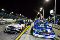 Pole winning truck of Ryan Blaney with second qualifier truck of Johnny Sauter