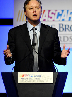 Brian France, chairman & CEO of NASCAR, speaks onstage at the NMPA Myers Brothers Awards Luncheon