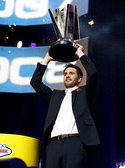 Jimmie Johnson with the Sprint Cup trophy at the After the Lap event