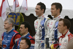 Winners Sébastien Ogier and Julien Ingrassia, second place Bryan Bouffier and Xavier Panseri, third place Kris Meeke
