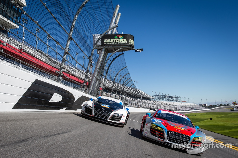#48 Paul Miller Racing Audi R8 LMS and #35 Flying Lizard Motorsports Audi R8 LMS