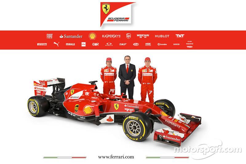 La Ferrari F14 T con i piloti Fernando Alonso e Kimi Raikkonen con Stefano Domenicali