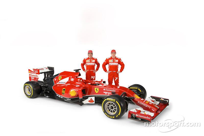La Ferrari F14 T con i piloti Fernando Alonso e Kimi Raikkonen