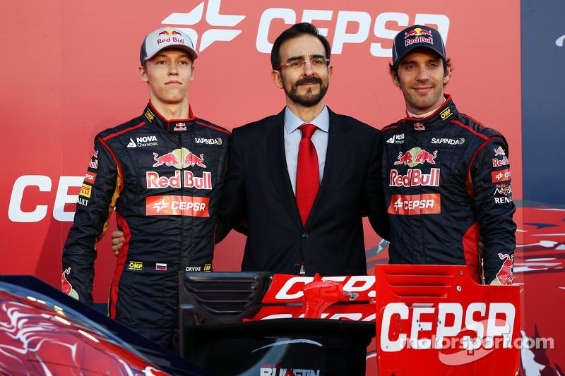 Daniil Kvyat, Scuderia Toro Rosso, and teammate Jean-Eric Vergne, Scuderia Toro Rosso, unveil the new Scuderia Toro Rosso STR10