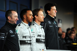 (L to R): Paddy Lowe, Lewis Hamilton, Mercedes AMG F1, Nico Rosberg, Mercedes AMG F1, and Toto Wolff, Mercedes AMG F1 Shareholder and Executive Director, at the unveiling of the new Mercedes AMG F1 W05