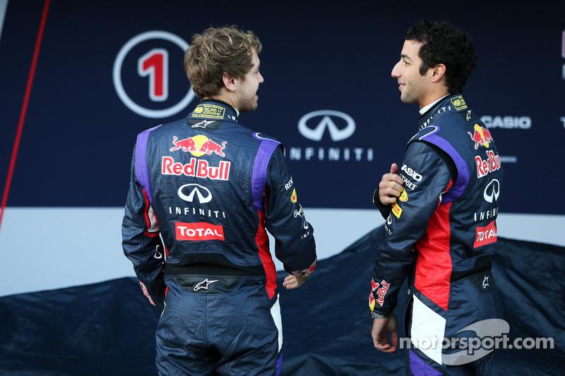 (L to R): Sebastian Vettel, Red Bull Racing with team mate Daniel Ricciardo, Red Bull Racing at the unveiling of the Red Bull Racing RB10