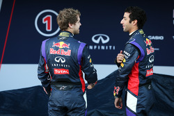 (L to R): Sebastian Vettel, Red Bull Racing with team mate Daniel Ricciardo, Red Bull Racing at the unveiling of the Red Bull Racing RB10