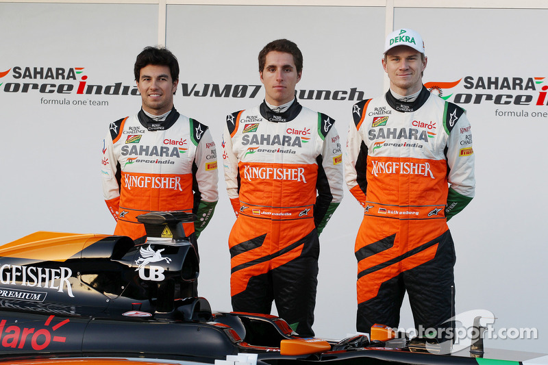 (L to R): Sergio Perez, Sahara Force India F1, Daniel Juncadella, Sahara Force India F1 Team Test an