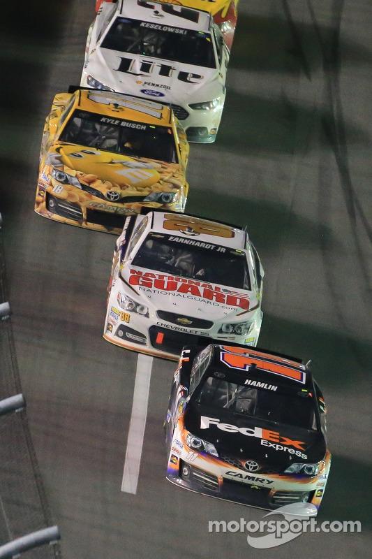 Denny Hamlin, Joe Gibbs Racing Toyota and Dale Earnhardt Jr., Hendrick Motorsports Chevrolet
