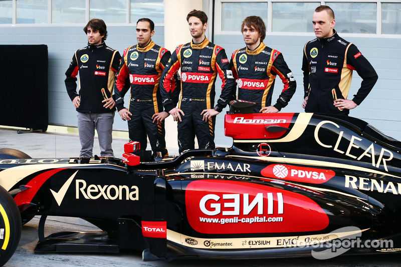 (L to R): Nicolas Prost, Charles Pic, with Romain Grosjean, Lotus F1 Team and team mate Pastor Maldo