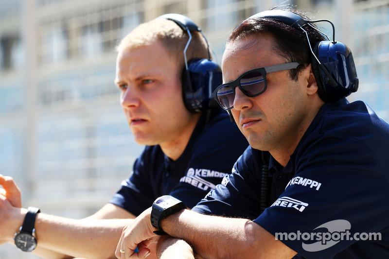 (L to R): Valtteri Bottas, Williams with team mate Felipe Massa, Williams