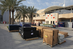 Red Bull Racing freight in the paddock