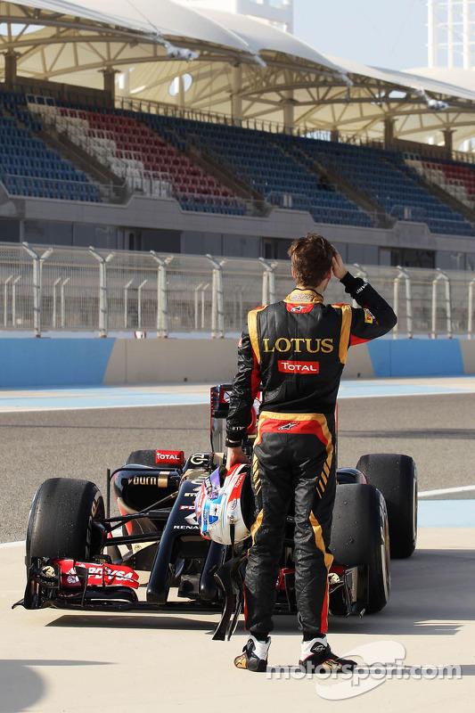 Romain Grosjean, Lotus F1 E22, bleibt stehen