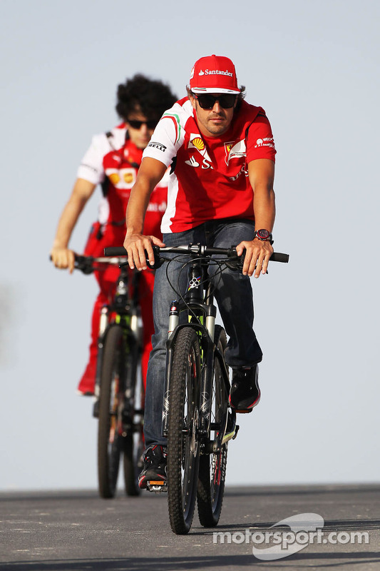 Fernando Alonso, Ferrari rides on his bicycle