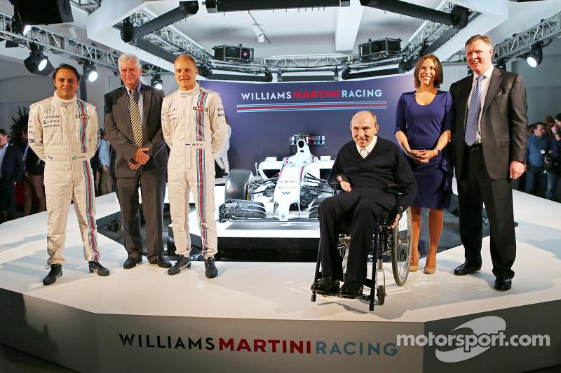 Felipe Massa and Valtteri Bottas, Pat Symonds, Sir Frank Williams, Claire Williams, Williams Martini