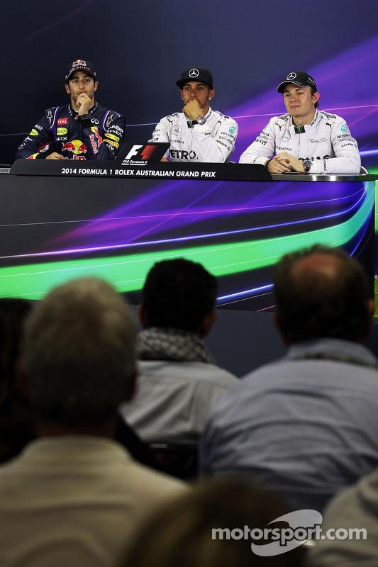 Conferência de imprensa da FIA, Daniel Ricciardo, Red Bull Racing; Lewis Hamilton, Mercedes AMG F1; Nico Rosberg, Mercedes AMG F1