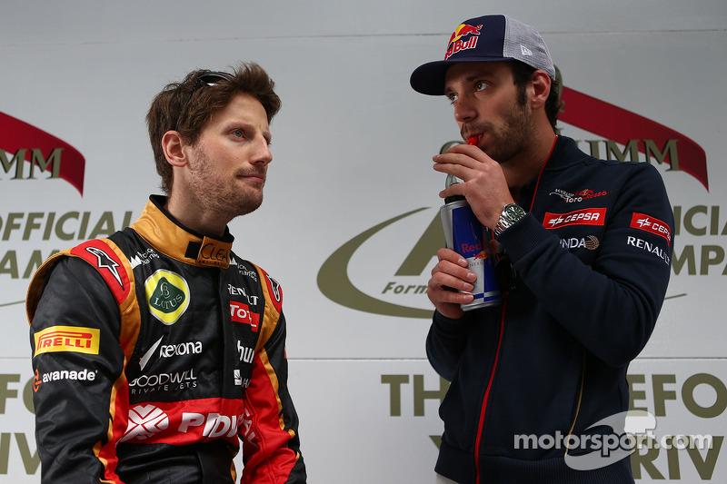 (L to R): Romain Grosjean, Lotus F1 Team with Jean-Eric Vergne, Scuderia Toro Rosso