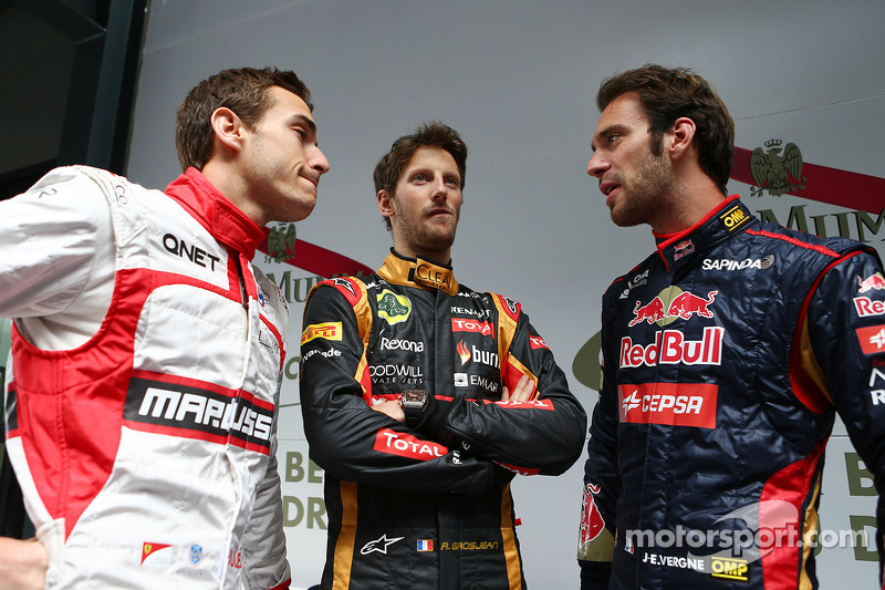 (L to R): Jules Bianchi, Marussia F1 Team with Romain Grosjean, Lotus F1 Team and Jean-Eric Vergne,