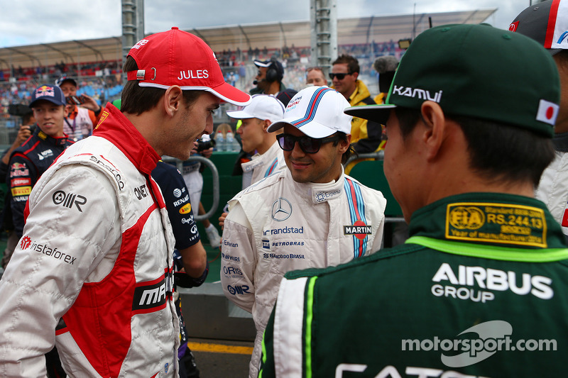 (L to R): Jules Bianchi, Marussia F1 Team with Felipe Massa, Williams and Kamui Kobayashi, Caterham on the drivers parade