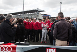 Audi drivers and personnel with the Audi R18 e-tron quattro