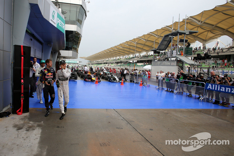 Sebastian Vettel, Red Bull Racing e Nico Rosberg, Mercedes AMG F1 Team